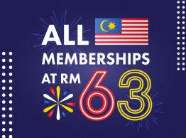 We Celebrate 63 years of Independence with all memberships at RM63!